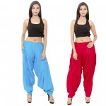 Zaributi Rayon Red and Sky Blue Semi Patiala Salwar Pack of 2