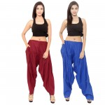 Zaributi Rayon Maroon and Blue Semi Patiala Salwar Pack of 2