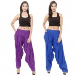 Zaributi Rayon Blue and Purple Semi Patiala Salwar Pack of 2