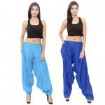 Zaributi Rayon Semi Light and Dark Blue Patiala Salwar Pack of 2