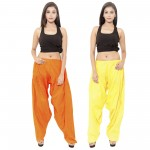 Zaributi Rayon YELLOW-ORANGE Semi Patiala Salwar Only Combo Pack of 2
