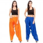 Zaributi Rayon Orange and Blue Semi Patiala Salwar Pack of 2