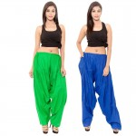 Zaributi Rayon Green and Blue Semi Patiala Salwar Pack of 2