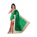 Fashionoma's Gorgeous Green and Red Colored ,Bordered, Velvet Saree