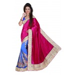 Fashionoma's Mesmerizing Magenta & Blue colored,Bordered, Velvet  Saree