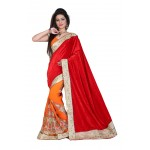 Fashionoma's Radiant Red and Orange Colored,Bordered, Velvet  Saree