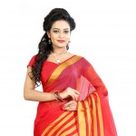 Fashionoma's Appealing Red and Golden Colored, Checkered Cotton Saree
