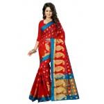 Pearl Fashion Red color Cotton silk saree with Zari work