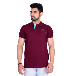 HB REPUBLIC Polo Collar Plain Half Sleeve T- shirt