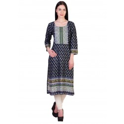 ilma Navy Multi Colored Printed Rayon Kurti / Kurta