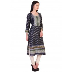 ilma Navy Multi Colored Printed Rayon Kurti / Kurta 1