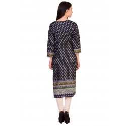 ilma Navy Multi Colored Printed Rayon Kurti / Kurta 3