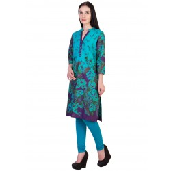 ilma Multi colored Floral Print Cotton Kurti 2