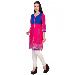 ilma  Jacket style Printed Pink Cotton Kurti 3