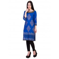 ilma Blue Printed Cambric Cotton Kurta / Kurti