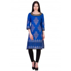 ilma Blue Printed Cambric Cotton Kurta / Kurti 2