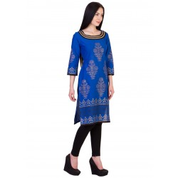 ilma Blue Printed Cambric Cotton Kurta / Kurti 3