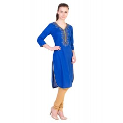 ilma Blue Embroidery Cotton Kurta / Kurti  1