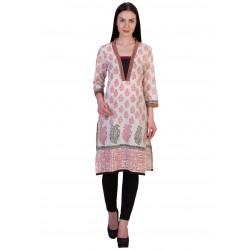 ilma Off White Printed Cambric Cotton Kurti / Kurta 4