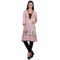 ilma Off White Printed Cambric Cotton Kurti / Kurta 1