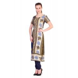 ilma Multi Colored Half Sleeve Long Rayon Kurta / Kurti 1