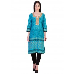 ilma Light Blue printed Cotton Kurti / Kurta