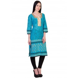 ilma Light Blue printed Cotton Kurti / Kurta 1