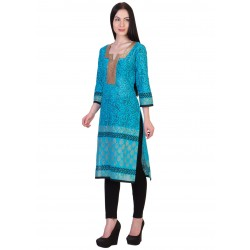ilma Light Blue printed Cotton Kurti / Kurta 2