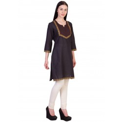ilma Black Thread Work Cotton Kurti 1