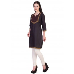 ilma Black Thread Work Cotton Kurti 2