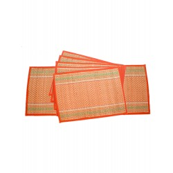 Handicraft Orange Table Mat Set of 6 pcs with Runner