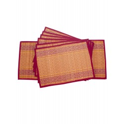 Handicraft Maroon Table Mat set of 6 pcs with Runner