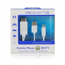 CABLESETC MHL 11 Pin Micro USB to HDMI TV Out Adapter Cable for Samsung Galaxy S4 and S3