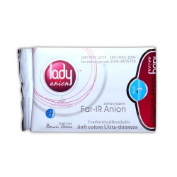Lady Anion Sanitary Napkins - Night use  - 290mm - 8 Pieces/Pack