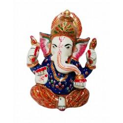 Madhuvan Metal Meenakari Hand Painting Ganesh Ji-5 Inch