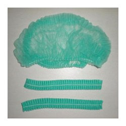 Bouffant caps /frill cap Green colour non vowen pack of 100