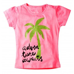YoungOnes Coconut Tree Print Tee For Girls Sizes age 2 to 6 years  2