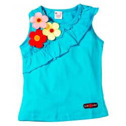 Young Ones Flower Applique with Frill Sleeveless Top Sizes age 2 to 6 yrs 2