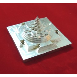 ENERGIZED SILVER PLATED 3D SHREE SRI YANTRA / MANDALA / 3 Inch 4