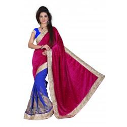 Fashionoma's Mesmerizing Magenta & Blue colored,Bordered, Velvet  Saree