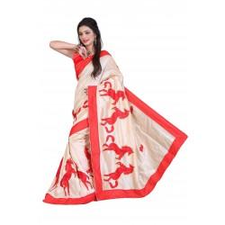 Fashionoma's Radiant Red Colored,Chetak Embroided Saree