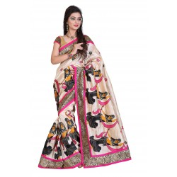 Fashionoma's Multicolored,Figure Print Embroided Saree