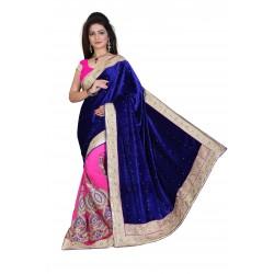 Fashionoma's Beautiful Blue and Pink Colored, Bordered, Velvet Saree