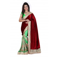 Fashionoma's Mesmerizing Maroon & Green colored,Bordered, Velvet  Saree