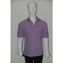 JHE Wrinkle Free Coral Colour Casual Check Shirt Size 40
