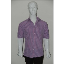 JHE Wrinkle Free Coral Colour Casual Check Shirt Size 42