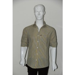 JHE Wrinkle Free Yellow Colour Casual Check Shirt Size 40