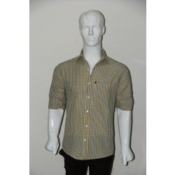 JHE Wrinkle Free Yellow Colour Casual Check Shirt Size 42