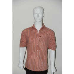 JHE Wrinkle Free Orange Colour Casual Check Shirt Size 40