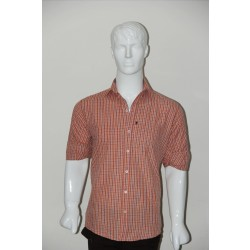 JHE Wrinkle Free Orange Colour Casual Check Shirt Size 42